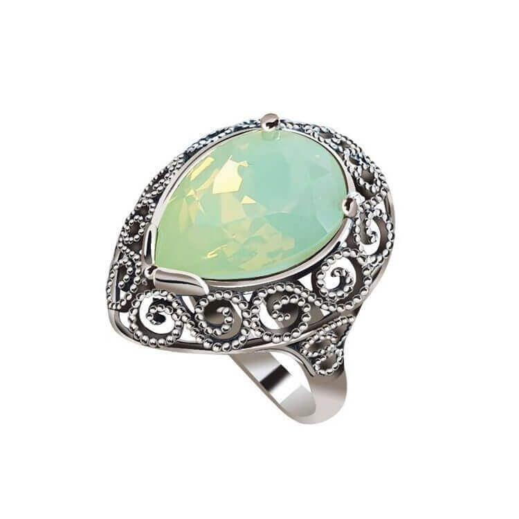Srebrny pierścionek z kryształem Swarovski PK 2087 Chrysolite Opal