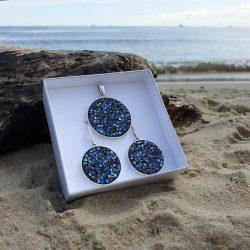 Komplet 2001 rocks moonlight black crystal swarovski w pudełku na prezent.