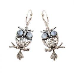 Kolczyki srebrne sowy z kocim okiem k 1669 kocie oko
