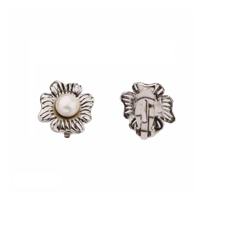 Klipsy srebrne zdobione perełkami 1565 Klipsy