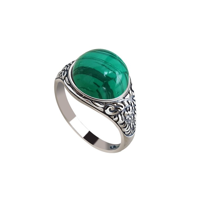Srebrny pierścionek z malachitem pk 2080