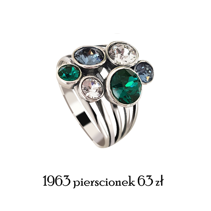 srebrny pierścionek swarovski