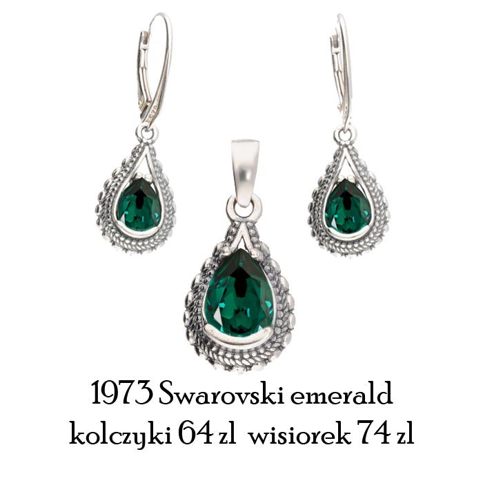 komplet swarovski emerald zielony