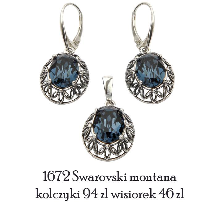 komplet srebrny swarovski montana