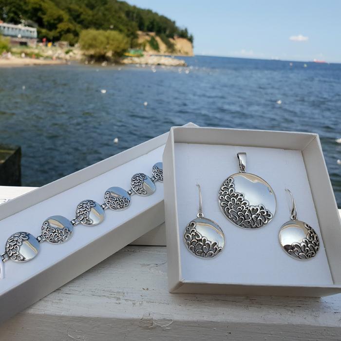 biżuteria srebrna komplet kolczyki i wisiorek bransoletka