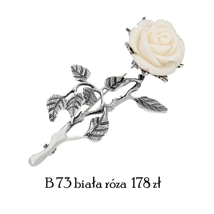 broszka biała róża