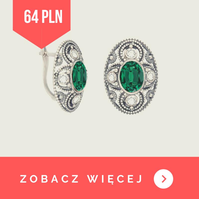 Kolczyki srebrne swarovski 1822 emerald crystal