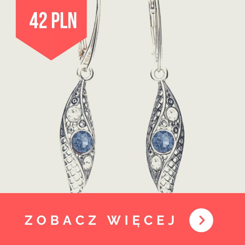 Kolczyki srebrne wiszące denim blue swarovski