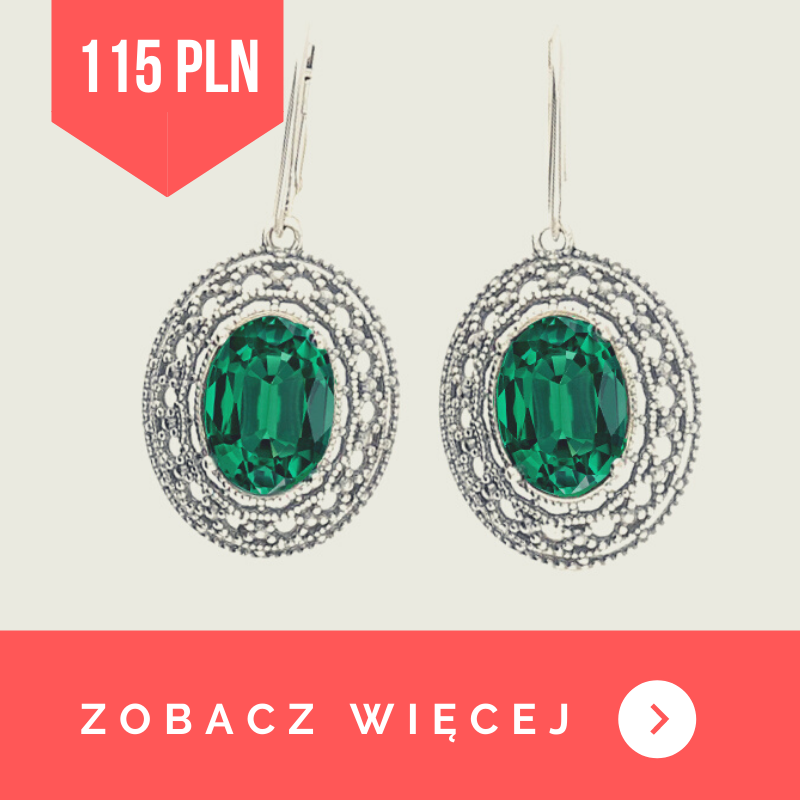 kolczyki srebrne z kryształami swarovskiego 1777 emerald