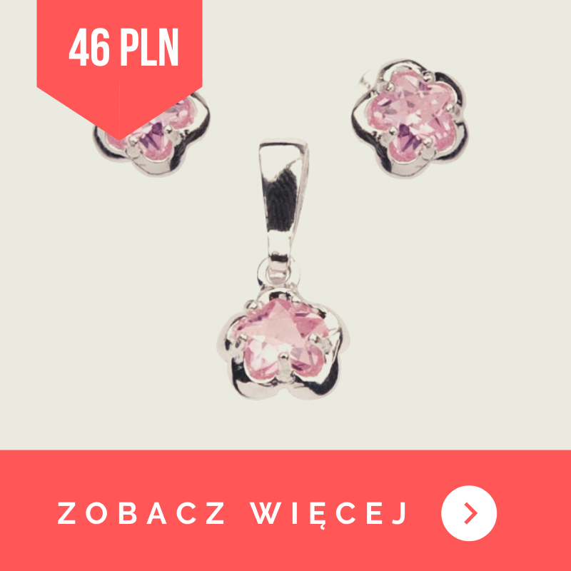 komplet srebrny z różowymi cyrkoniami