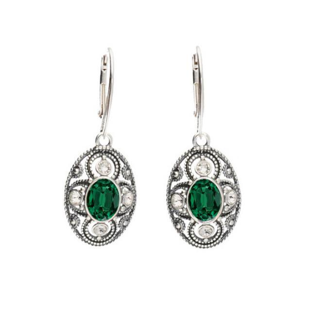 wiszące kolczyki emerald crystal