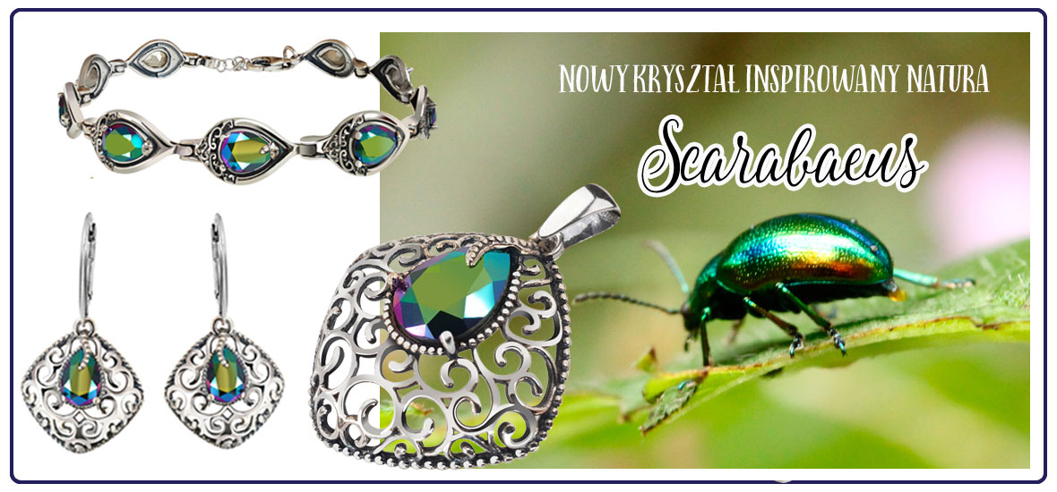 scarabeusz kolczyki wisiorek skarabeusz crystal